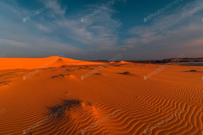 Impresionante vista de las dunas de Arena solitarias bajo el cielo de la puesta de sol de la tarde