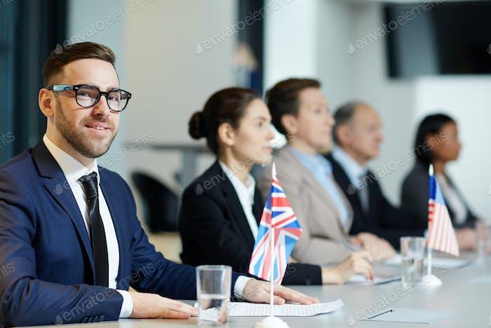 Confident delegate
