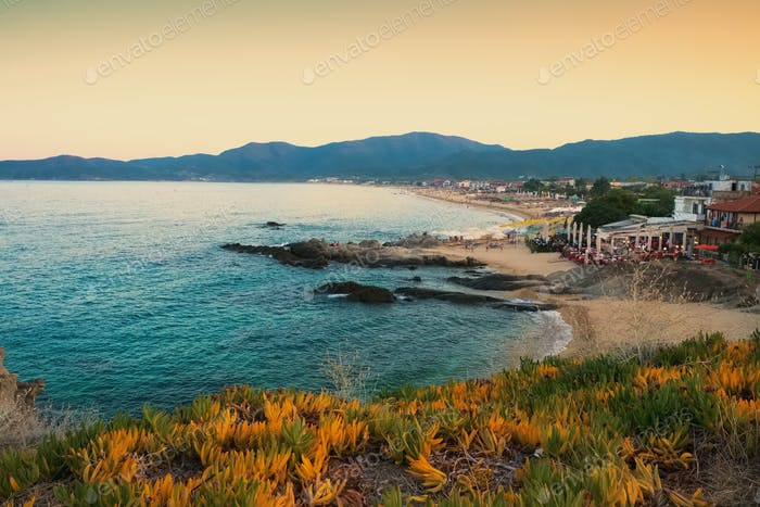 Sunset seashore landscape Sarti Greece