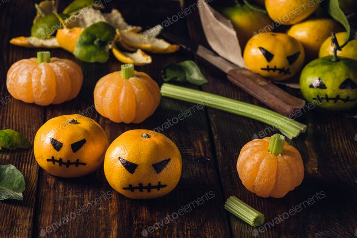 Halloween with fake pumpkins