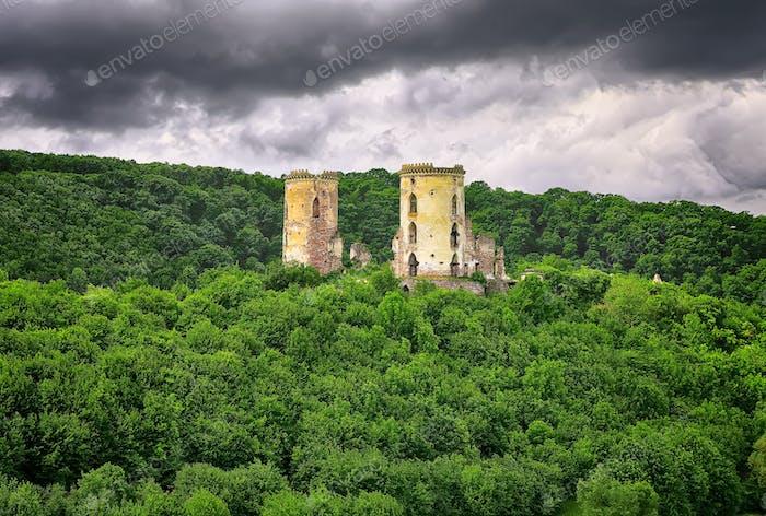 Spring view of Chervonohorod Castle ruins