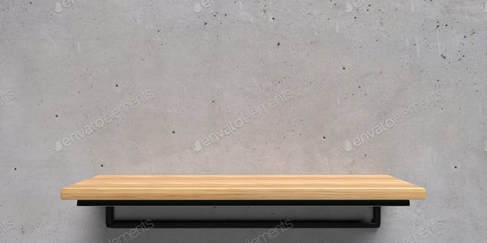 Empty wooden shelf on concrete wall background. Perspective view. 3d illustration