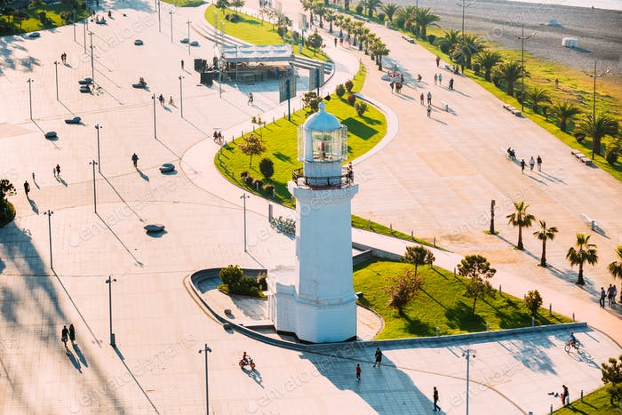 Batumi, Adjara, Georgia. View Of Old Pitsunda Lighthouse In Mira