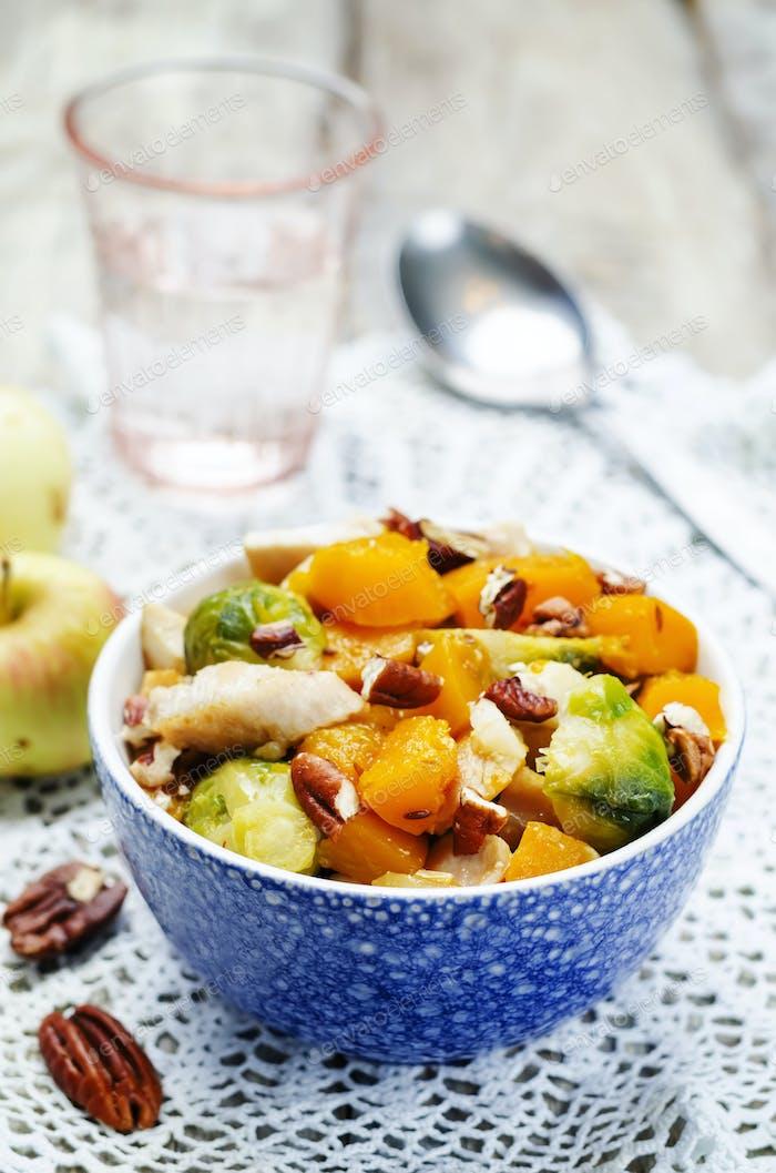 Brussels sprouts pumpkin apple chicken stew
