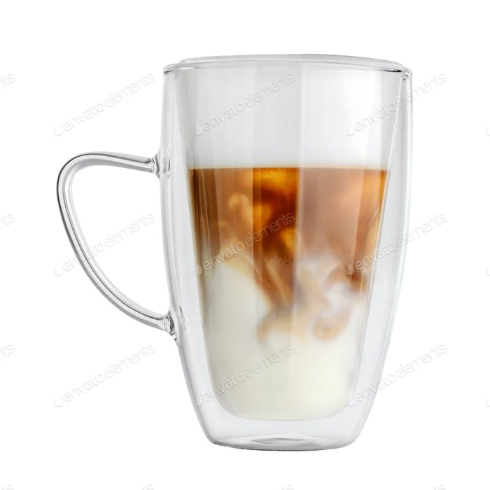 Double wall mug with latte coffee isolated