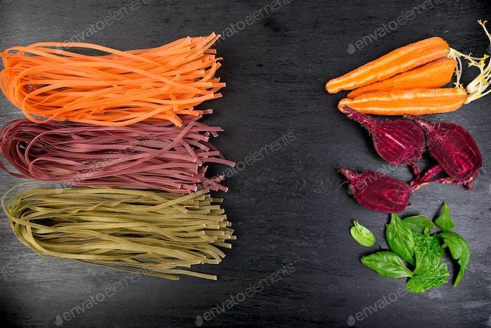 Colored Raw Vegetable Vegetarian Pasta