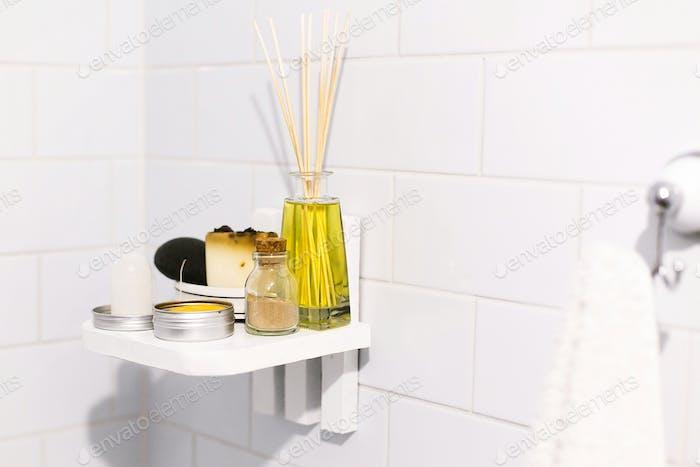 Zero waste bathroom concept. Eco natural shampoo in metal can