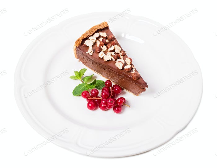 Chocolate cheesecake with hazelnuts.