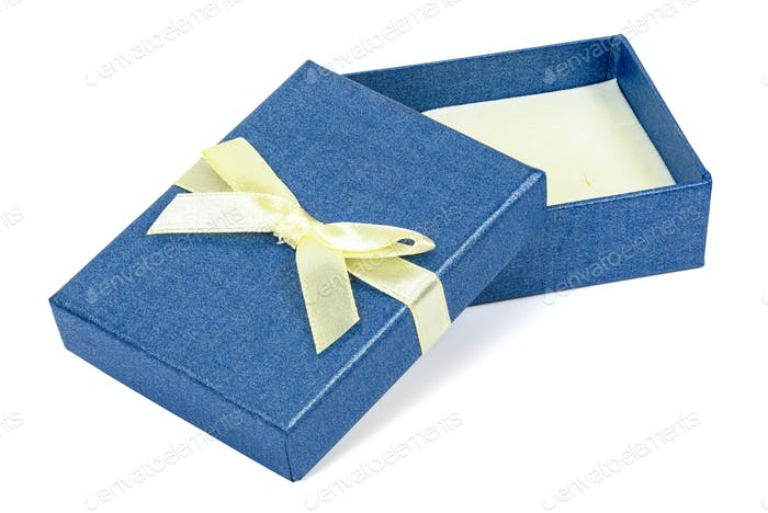 Blue decorative present box with yellow ribbon