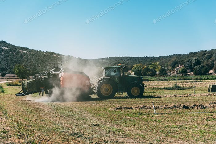 Tractor in the meddle of a cultivation field