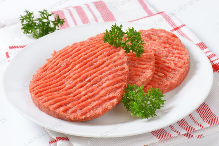 raw hamburger patties
