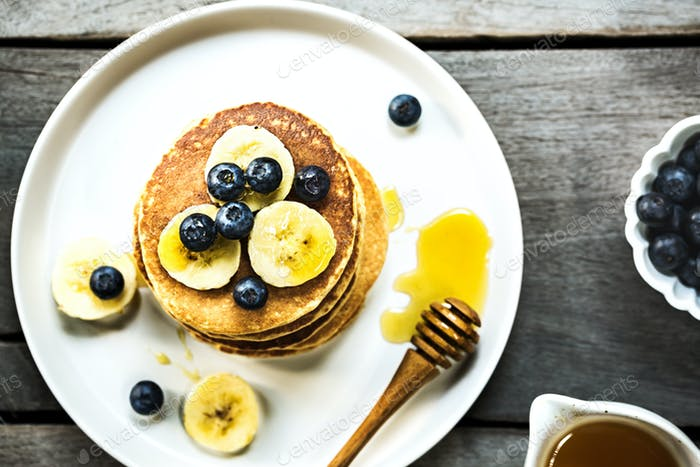Banana Oat Pancake with fresh Blueberry and Banana
