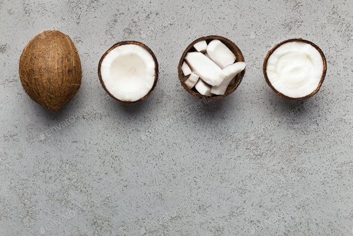 Organic coconut products concept