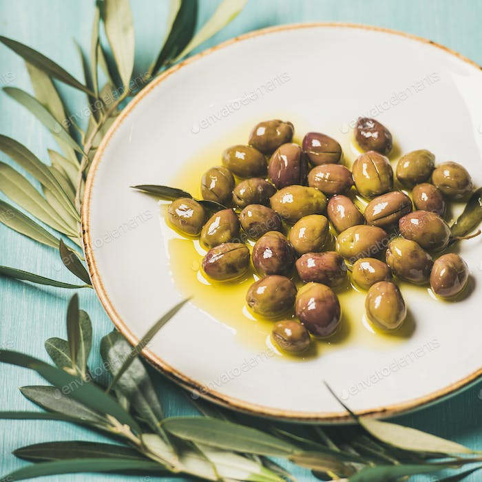 Pickled olives in oil and olive-tree branch over blue background