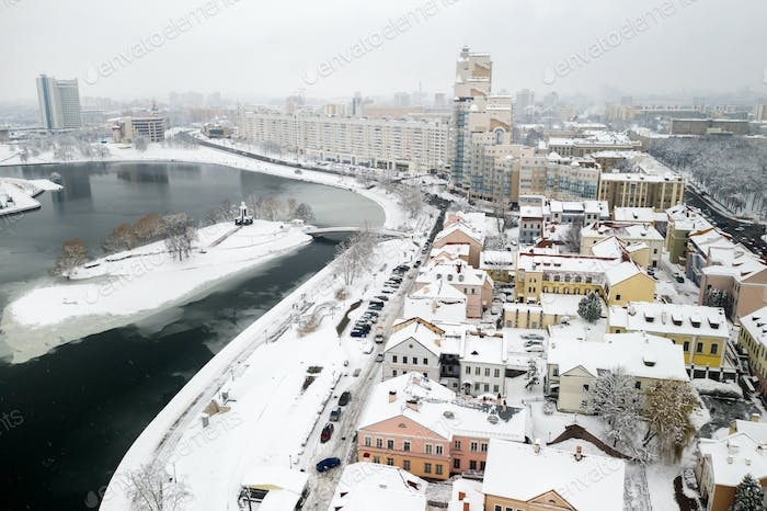 Snow-covered old center of Minsk from a height. The Trinity suburb. Belarus