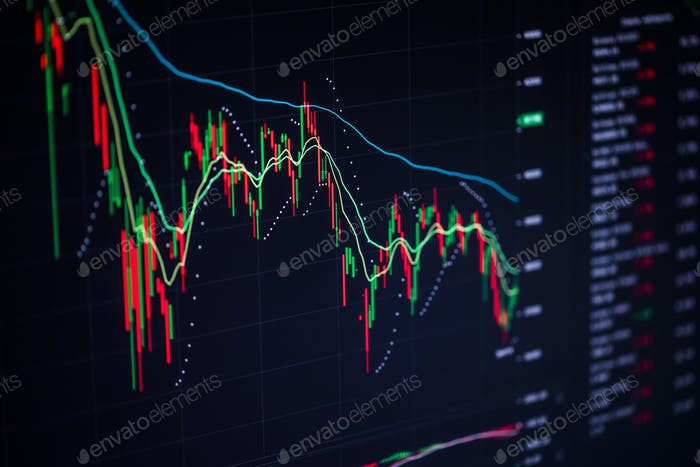Stock charts on the monitor close up. Finance and stock exchange concept