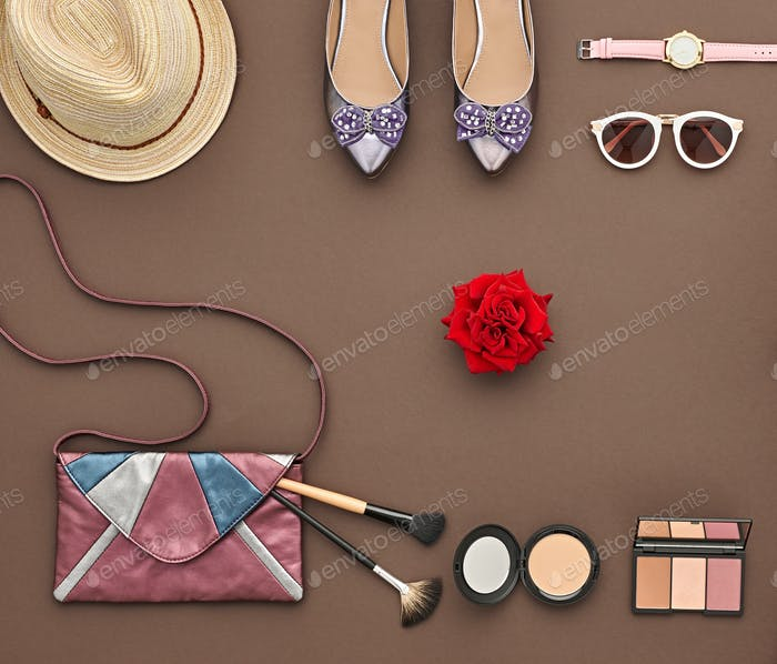 Fashion Stylish Accessory Set. Essentials Cosmetic