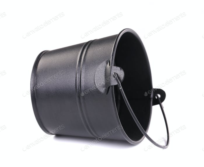 Black metal bucket.