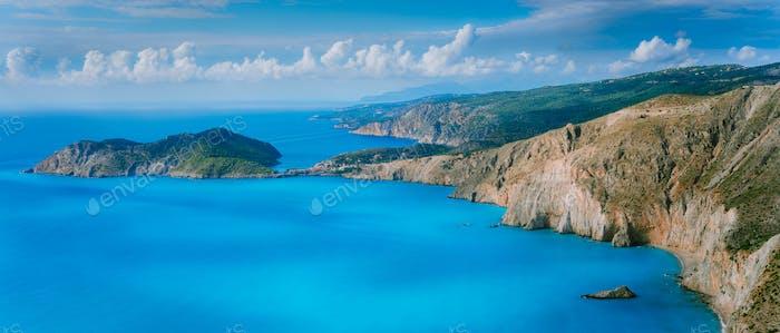 Stunning coastal panorama and beautiful clouds at the horizon on Kefalonia island. Mediterranean Sea
