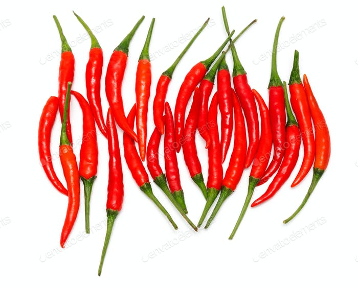 Pile of red chili peppers isolated on white