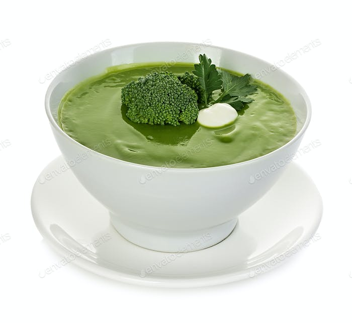 Broccoli cream soup isolated