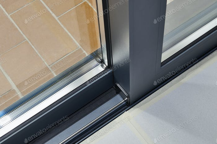 Sliding glass door detail and rail