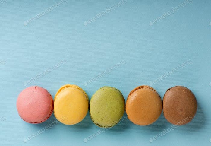Macarons on blue