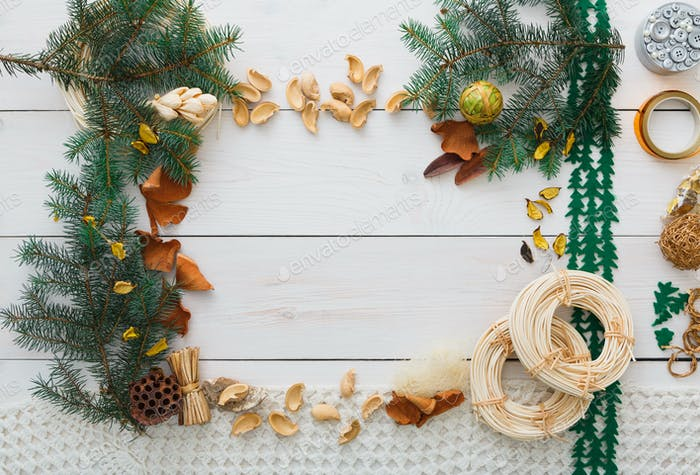 Christmas decoration handmade frame on white wood background copy space