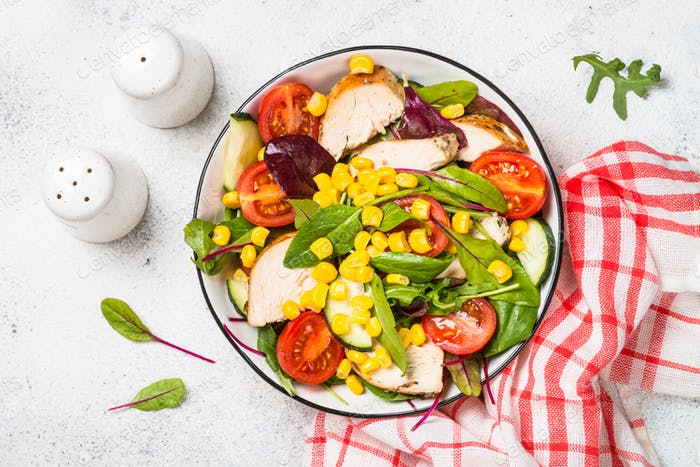 Salad with Chicken and vevetables on white