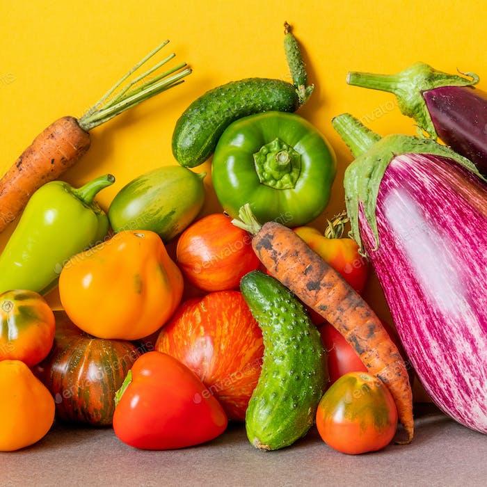 Organic vegetables still life scene.