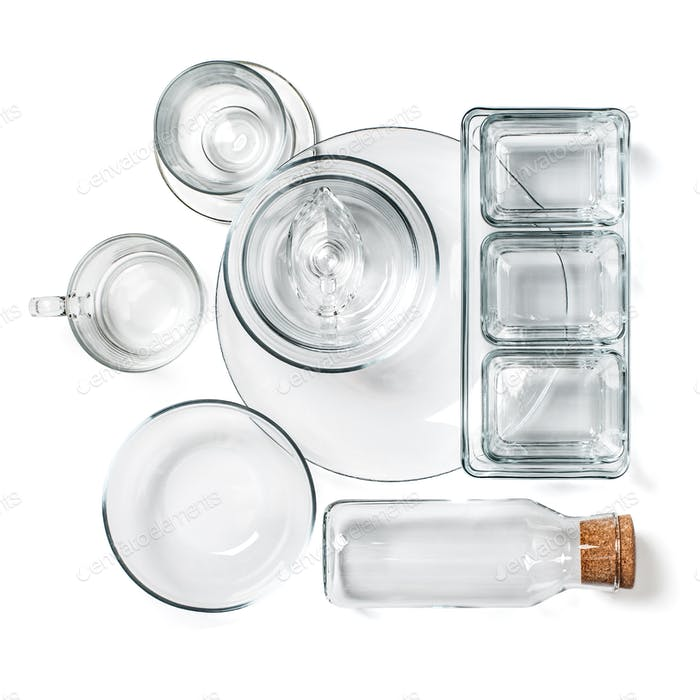 Various empty glassware on a clean white background.