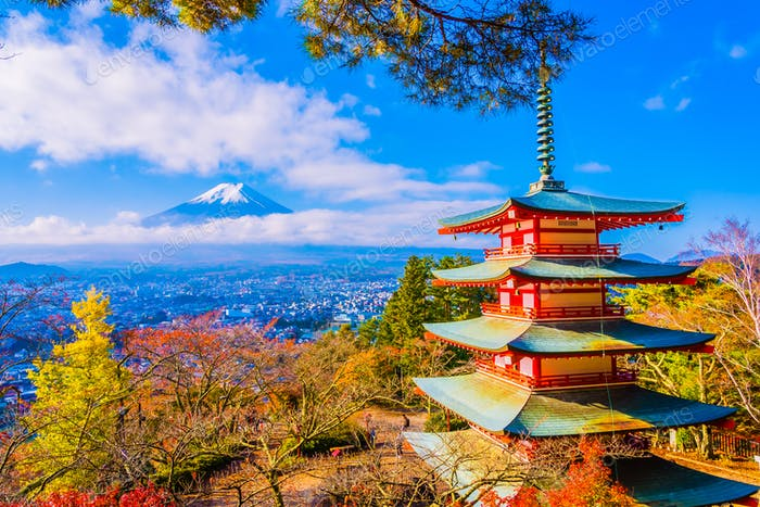 Beautiful landscape of mountain fuji with chureito pagoda around
