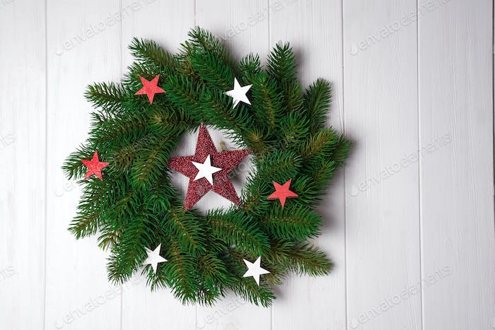 Christmas wreath with stars