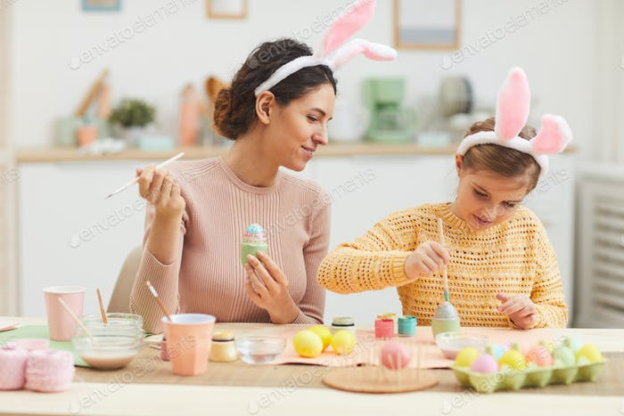 Mother and Daughter Enjoying Easter