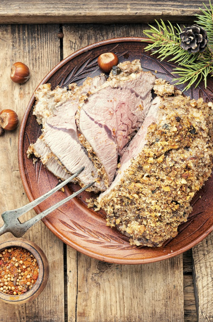Baked meat on festive table