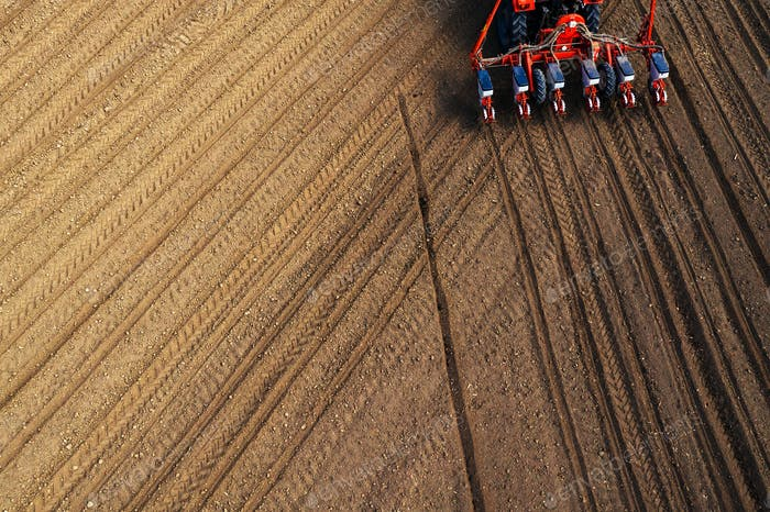 Drone pov tractor sowing corn in field