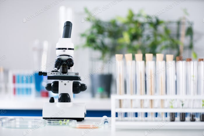 Scientific tools at workplace in modern biological laboratory