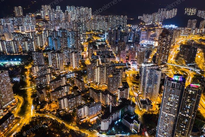 Wong Tai Sin, Hong Kong, 24 September 2018:- Hong Kong residential district at night