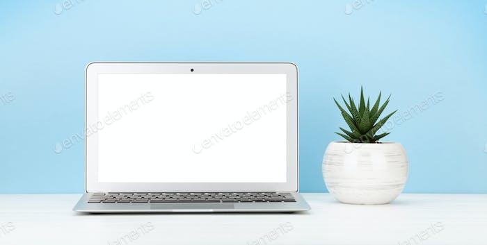Studio workspace with laptop computer