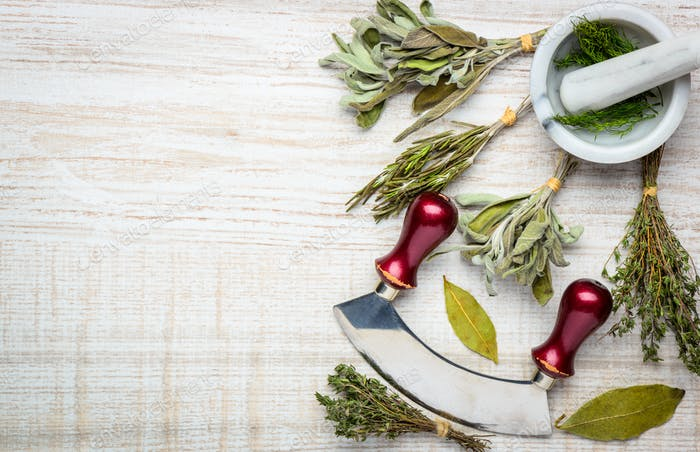 Cooking Herbs and Utensils with Copy Space