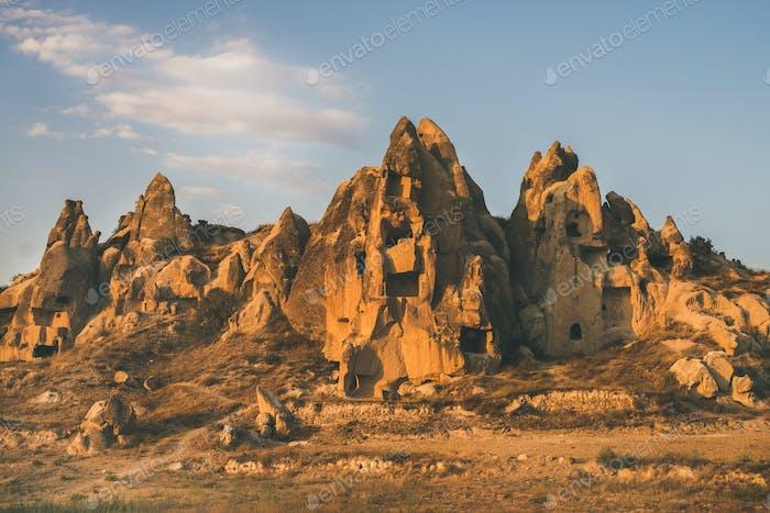 Natural volcanic rocks at sunset, Cappadocia, Turkey