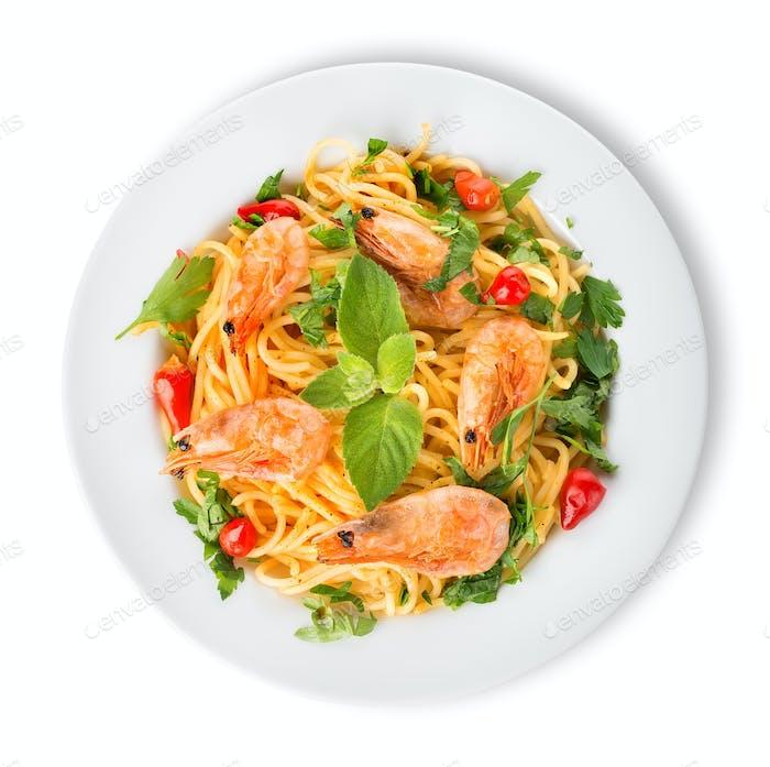 Garnelen auf Spaghetti