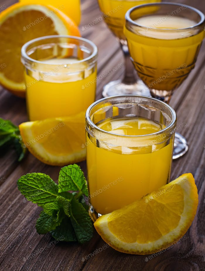 Glases of orange juice with mint