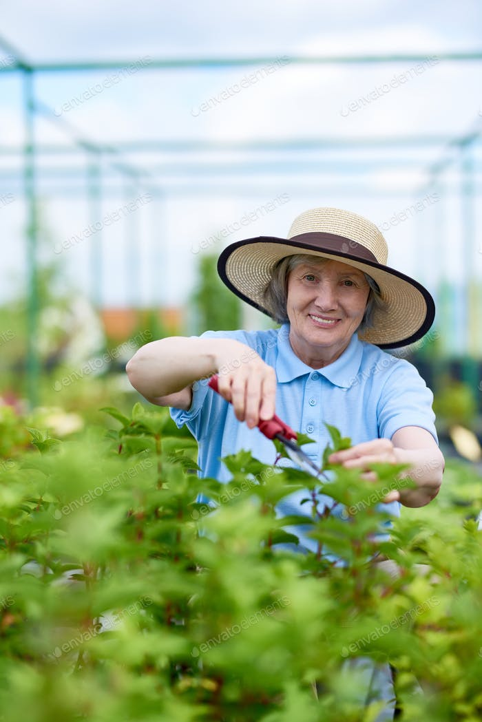 Happy Senior Woman Working in Garden