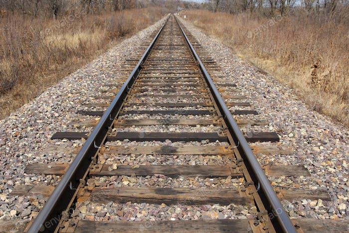 Railway leaving afar to horizon.