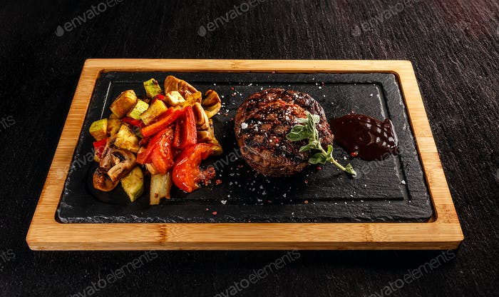 Ribeye steak with grilled vegetables
