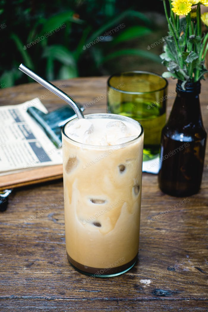 Iced coffee latte in summer