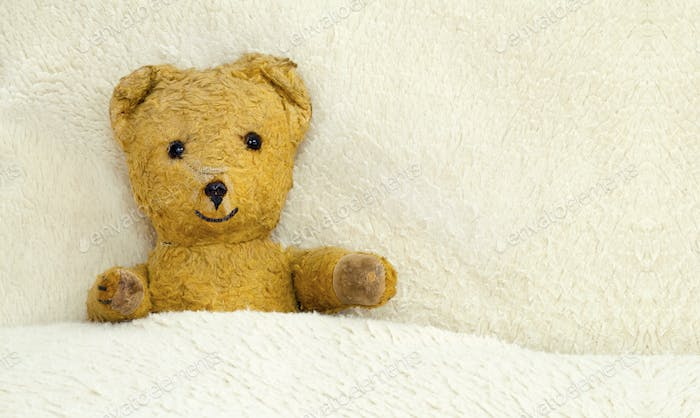 Cute toy bear lying in the bed