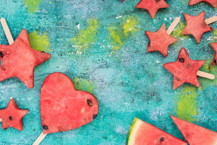 Funny shapes from watermelon popsicels