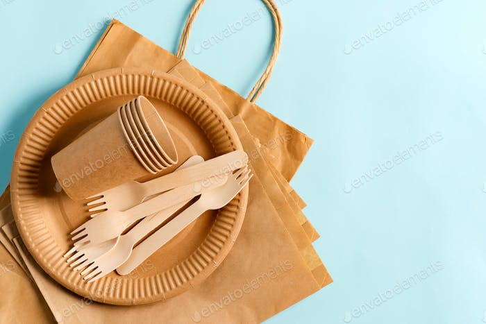 Eco friendly zero waste disposable set of dishware and paper bags on a pastel blue background. Top